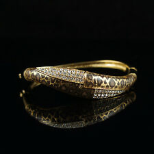 18k Gold GF with Swarovski crystals leopard bracelet bangle
