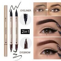 Black Double Head Liquid Eye Liner Pen Pencil Waterproof Eyeliner Makeup 2 In1