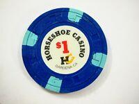 Vintage Horseshoe Casino obsolete Chip Gardena CA $1 Blue great condition