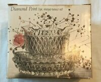 Vintage Indiana glass  Diamond Point 3 Pc. Mayo/ Sauce Set  in the Box