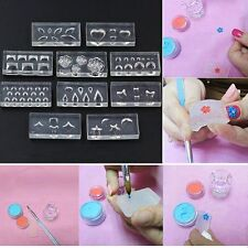 10pcs/set UV Gel Mixed Shapes 3D Silicone DIY Manicure Nail Art Mold Template