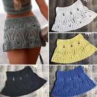 Sexy Bono Women Summer Crochet Skirt Beach Swimwear Knitted Tassle Mini Skirt XS