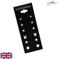 Women's 6 Pairs Set Mixed Stud Earrings Pearl Bow Rhinestone Sparkle - UK