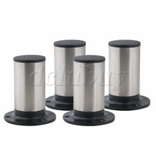 4x Silver 100mm Height Adjustable Stainless Steel Sofa Cabinet Wardrobe Bed Legs