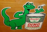 "VINTAGE SINCLAIR DINO SUPREME MOTOR OIL DIE-CUT DINOSAUR 13"" METAL GASOLINE SIGN"