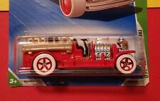 RARE OLD NUMBER 5.5 FIRE TRUCK * 2010 TREASURE HUNT * WHITE TIRES - HOT WHEELS