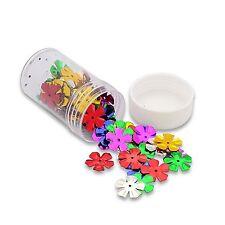 1 boite box d'environ 60 paillettes sequins fleur  assortiment de couleurs NEUF