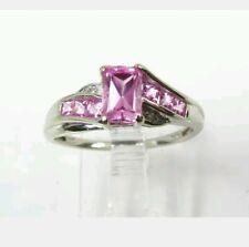 Estate 10k White Gold 1.00ctw Pink Topaz & Diamond Ladies Ring 2.0g