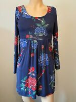 Joules Dress Tunic Top Size 8 10 Womens Ladies Blue Navy Floral Pockets Autumn