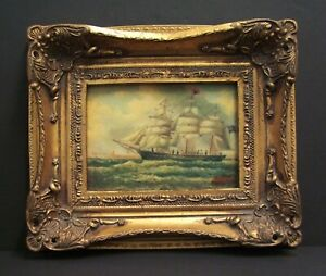 20th Century original oil painting of ship and sea by Albert Hess 1895 - 1960
