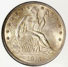 😱💙❄️NGC MS62 1875 SEATED LIBERTY HALF