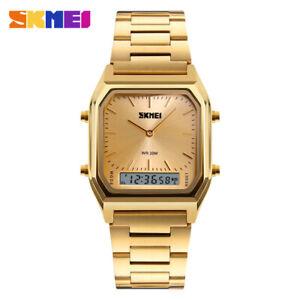 SKMEI Gold Watch Men Digital Dual Time Sport Chronograph LED Light Wristwatches