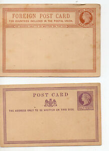 POSTAL STATIONERY  GREAT BRITAIN  QV  2 UNUSED POSTCARDS - 1 DOMESTIC, 1 FOREIGN