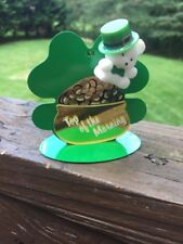 Vintage TOP OF THE MORNING Shamrock Clover Irish Ornament Pot of Gold RARE FIND