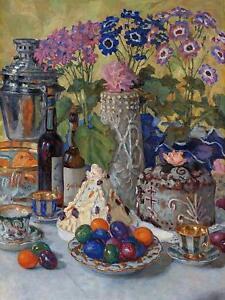 Easter Table N. Belsky Eggs Flowers Tile Mural Kitchen Backsplash Marble Ceramic