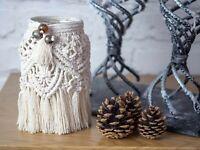 Macrame lamp Feathers Glass Tealight Boho style storage jar 100% Cotton cord.!