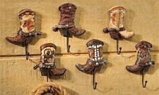 "Set of 6 - Cowboy Boot Design Wall Hooks -  7"" High Polystone NEW"