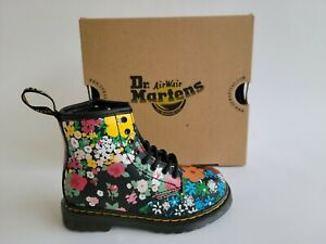 Dr Martens Toddler 1460 Floral Mash Up Leather Lace and Zip Boots for Kids