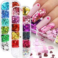12 Grids Cute Love Heart 3D Diy Nail Art Glitter Laser Sequins Holo Flakes~Decor