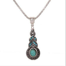 Fashion Blue Turquoise Chain Silver Tibetan Crystal Pendant Necklace Jewelry