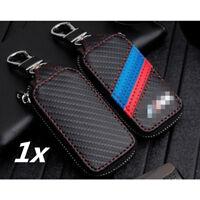 PU Leder Schlüssel Etui Gehäuse Fernbedienung Schlüsseltasche Schwarz mit M Logo