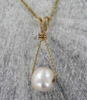 Jumbo Genuine Pearl Pendant Necklace in 14 KT Rolled Gold Wire Wrapped Setting