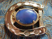 Belt Buckle, Gold Metal Horseshoe ,Western New Blue Agate Semi Precious Stone