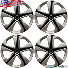 "4PC NEW SILVER BLACK 16"" HUB CAPS FITS KIA SUV CAR COUPE CENTER WHEEL COVER SET"