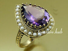 C864 SUPERB 9ct Solid Gold NATURAL Amethyst Pearl Drop Cocktail Ring in yr size