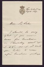 LETTER FROM PRINCE CHRISTIAN OF SCHLESWIG-HOLSTEIN 1891 TO SIR JOHN COWELL