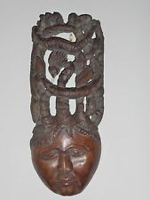 """LARGE WOOD CARVED WALL DECOR MASK WITH INTERTWINED ANIMALS HEADDRESS 18"""""""