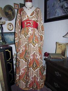 vtg LILLIE RUBIN 70s Hippie Prairie Paisley Retro Boho Cottagecore Maxi Dress 8