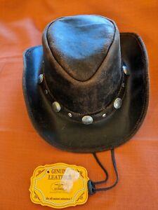 NEW Bullhide Araphoe Dark Brown Leather Cowboy Hat MonteCarlo Size Large