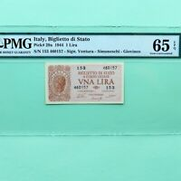 1944 Italy 1 Lira, Pick # 29a, PMG 65 EPQ Gem Unc.