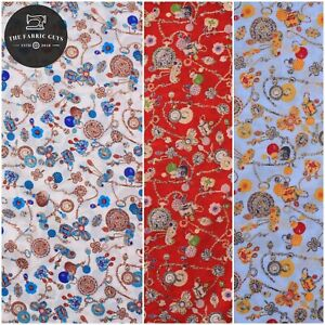 """100% Cotton Lawn, Vintage Charms with Gold Foil, High Quality 58"""""""