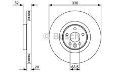 BOSCH Juego de 2 discos freno Antes 336mm ventilado VOLVO S80 V70 0 986 479 395