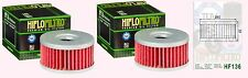 2x HF136 Oil Filter for Suzuki GN GN250  1982-00, GZ250 Marauder 1999-10 & TU250
