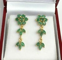 14k Solid Yellow Gold Fn Cluster Dangle Stud Earrings 3Ct Round Cut Emerald