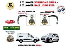 FOR CITROEN BERLINGO + VAN 2008> LEFT + RIGHT SIDE 2x WISHBONE ARMS + BALL JOINT