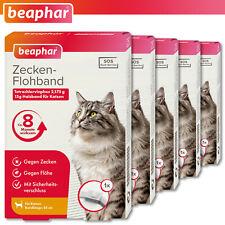 Beaphar 5 x Zecken-Flohband für Katzen   weiß   35 cm   8 Monate wirksam   SOS