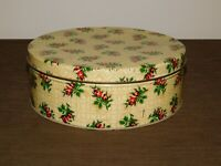 """VINTAGE 10"""" ACROSS OLIVE CAN CHICAGO ROSE FLOWERS BISCUIT TIN"""