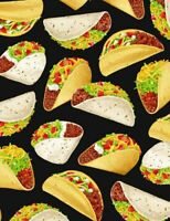 Timeless Treasures Tossed Taco Foodie Food Theme 100% cotton fabric by the yard