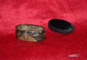 Rare! FUCHI-KASHIRA for samurai KATANA,inlay,blind(MISU),copper,wood,Edo/oe047/