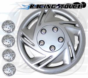 "Metallic Silver 4pcs Set #602 14"" Inches Hubcaps Hub Cap Wheel Cover Rim Skin"