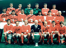 1968 Manchester United 10 Signed 16x12 Autograph European Cup Photo AFTAL COA
