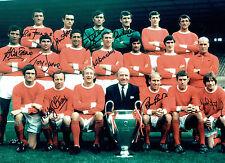1968 Manchester United 10 Signed 16x12 Autograph European Cup Photo AFTAL COA
