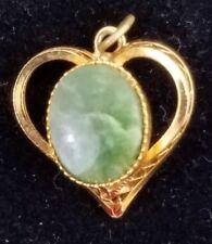 Vintage Heart Pendant Gold Tone Faux Jade