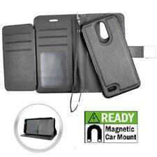 For LG Aristo 2 X210 / K8 2018 - Black Wallet Card Slot Magnetic Detachable Case