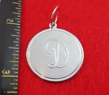 """14 KT WHITE GOLD EP LARGE(OVER 1"""") ROUND INITIAL DISC LETTER D PENDANT CHARM"""