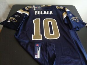 MARK BULGER St. Louis RAMS Football REEBOK Replica LARGE Jersey NEW Blue NFL
